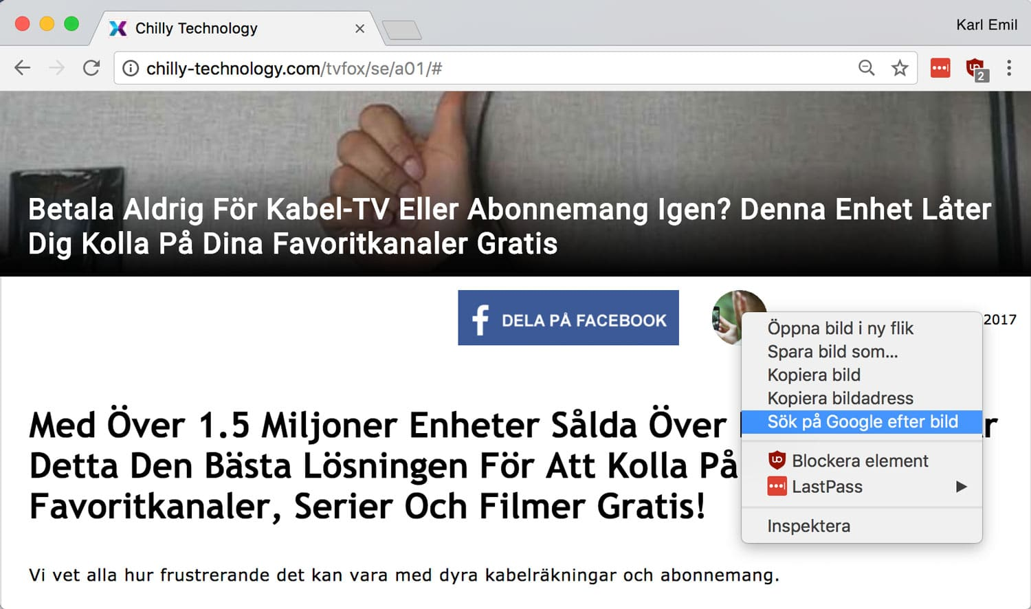 Bildsöksfunktionen i Google Chrome