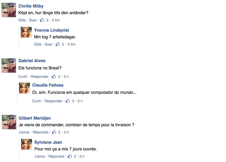 Fejkkommentarer under olika namn.