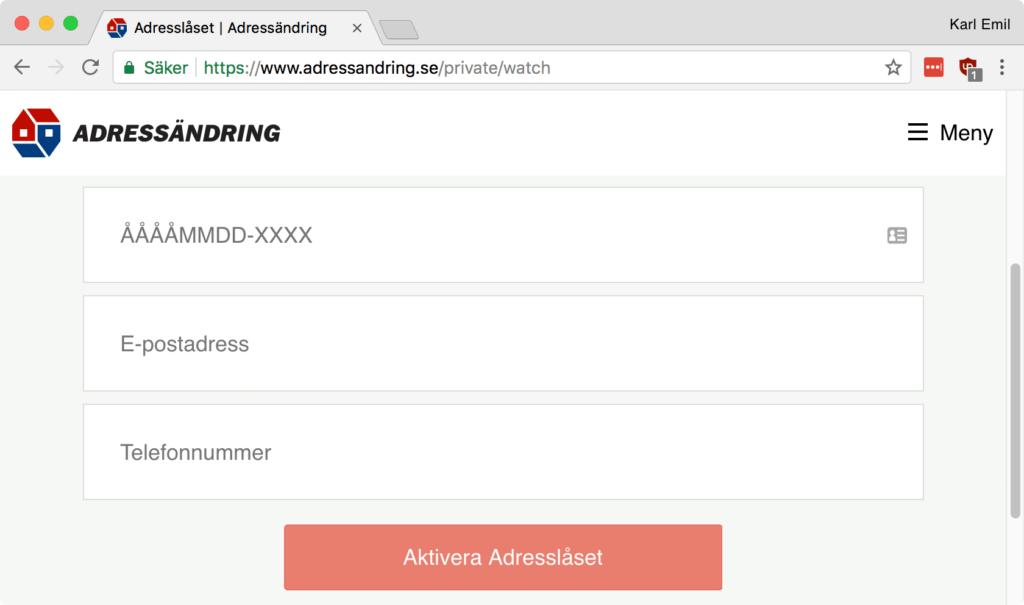 Inställningar på Adressändrings webbsida