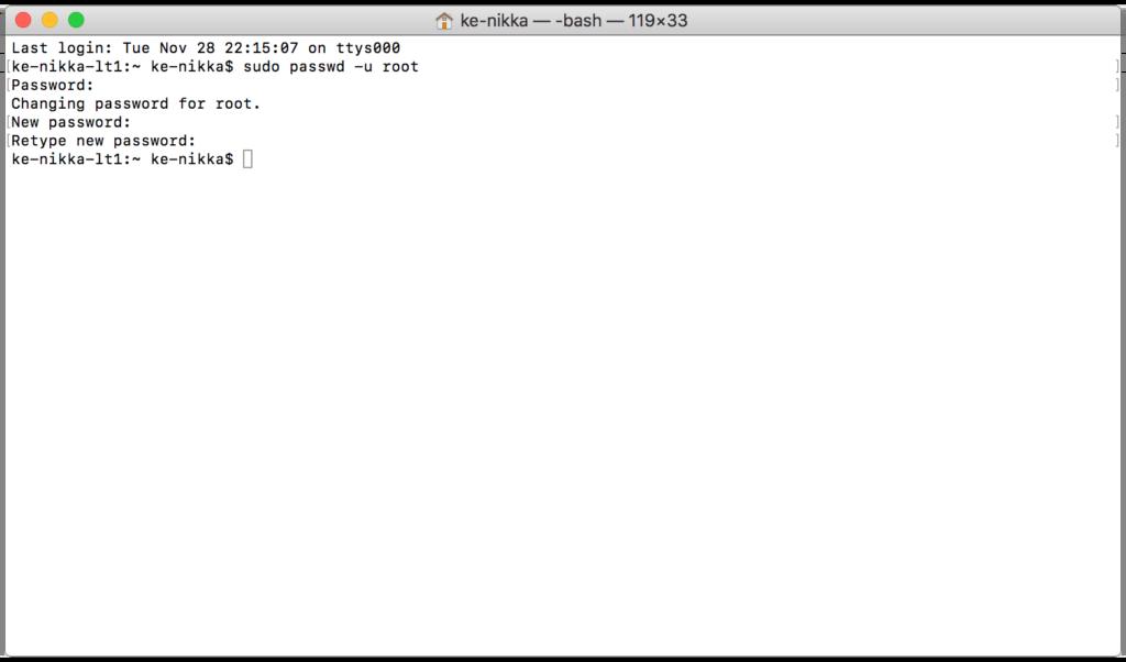 Terminalkommando för byte av root-lösenord