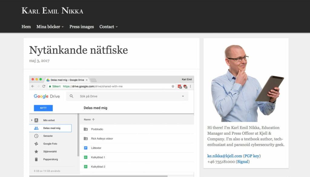 Karl Emil Nikkas gamla blogg