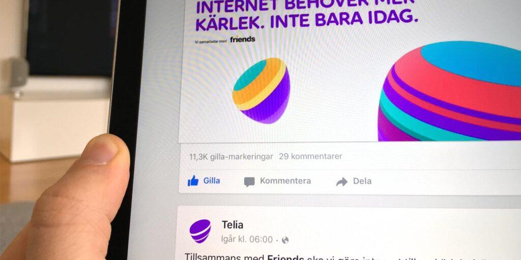 Telias kampanjsida på Ipad