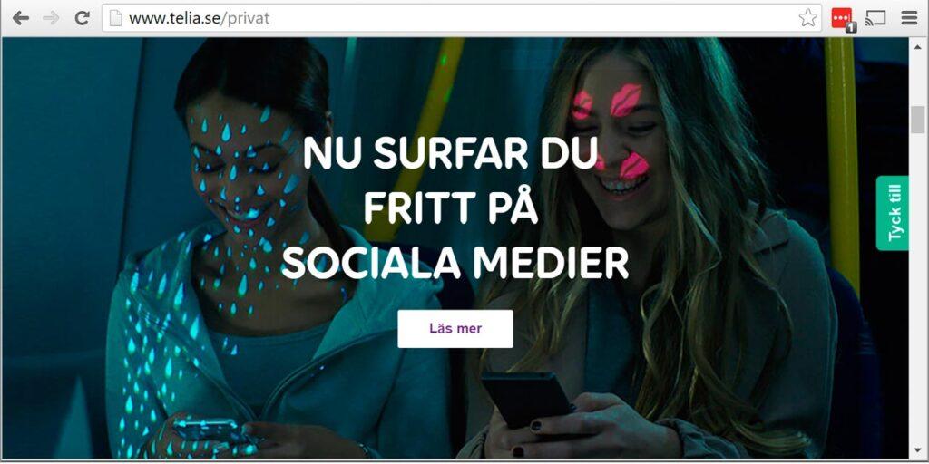Telias webbsida om fri surf på sociala medier