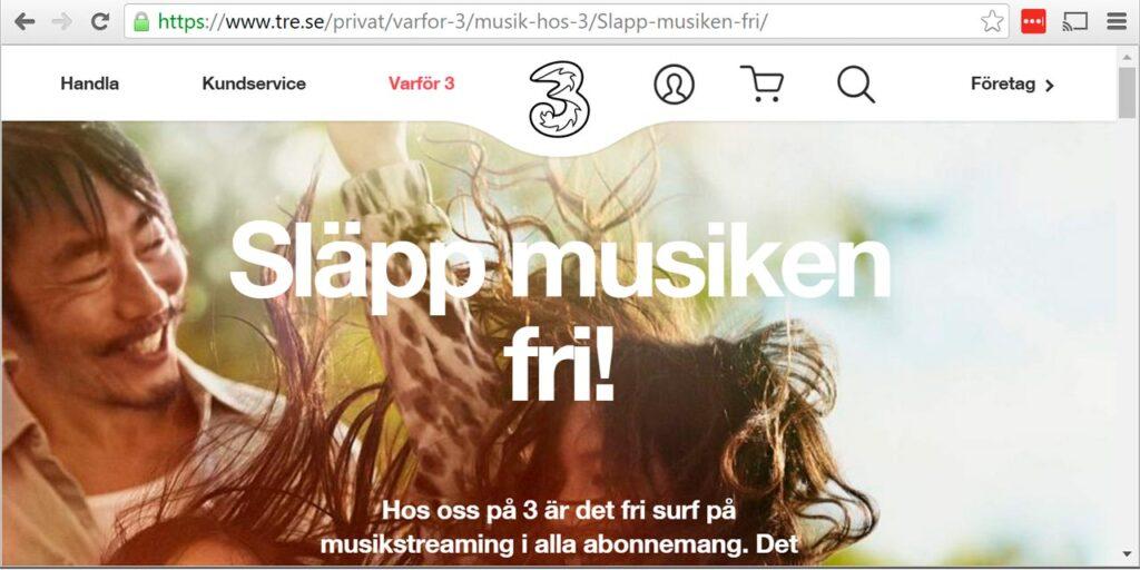 Operatören Tres webbsida om fri musik