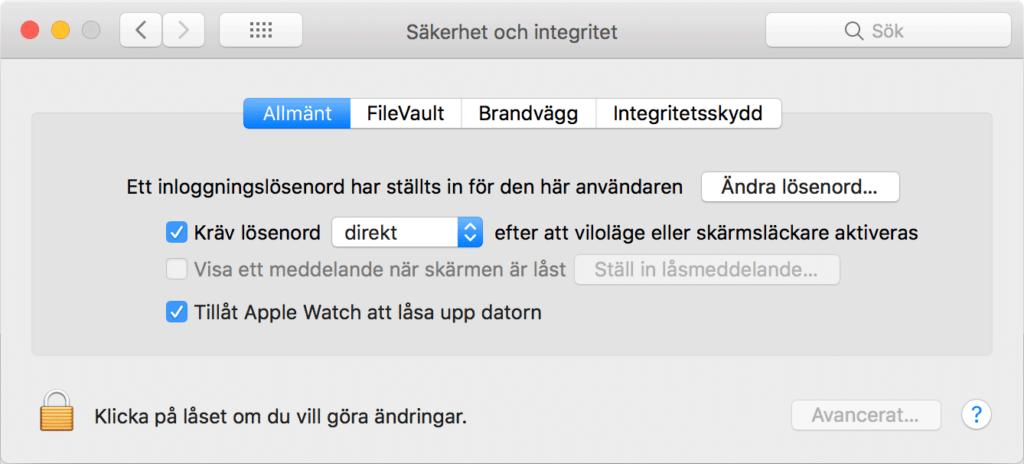 Dialogruta för att aktivera upplåsning av Mac med Apple Watch