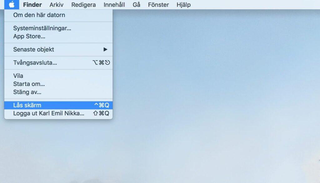 Kortkommando för att låsa Mac OS High Sierra.