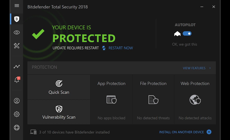 Bitdefender Totalt Security är redo efter en omstart av datorn.