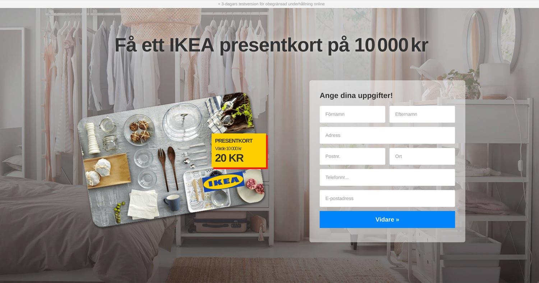 Bluffsidan för Ikea-presentkort