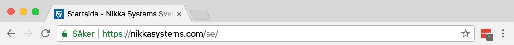 Webbadress som börjar med HTTPS