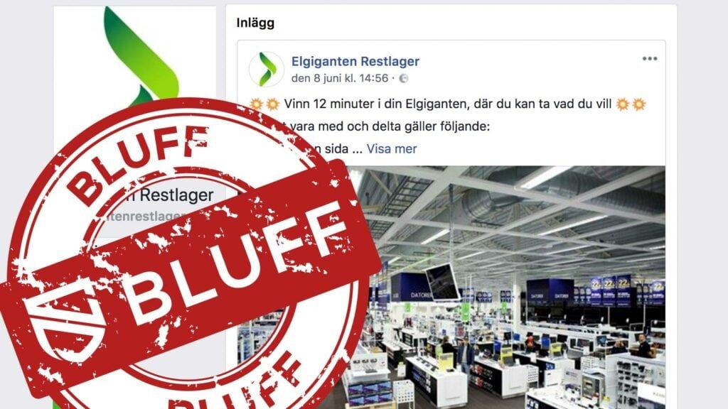 Fejksida om Elgiganten på Facebook