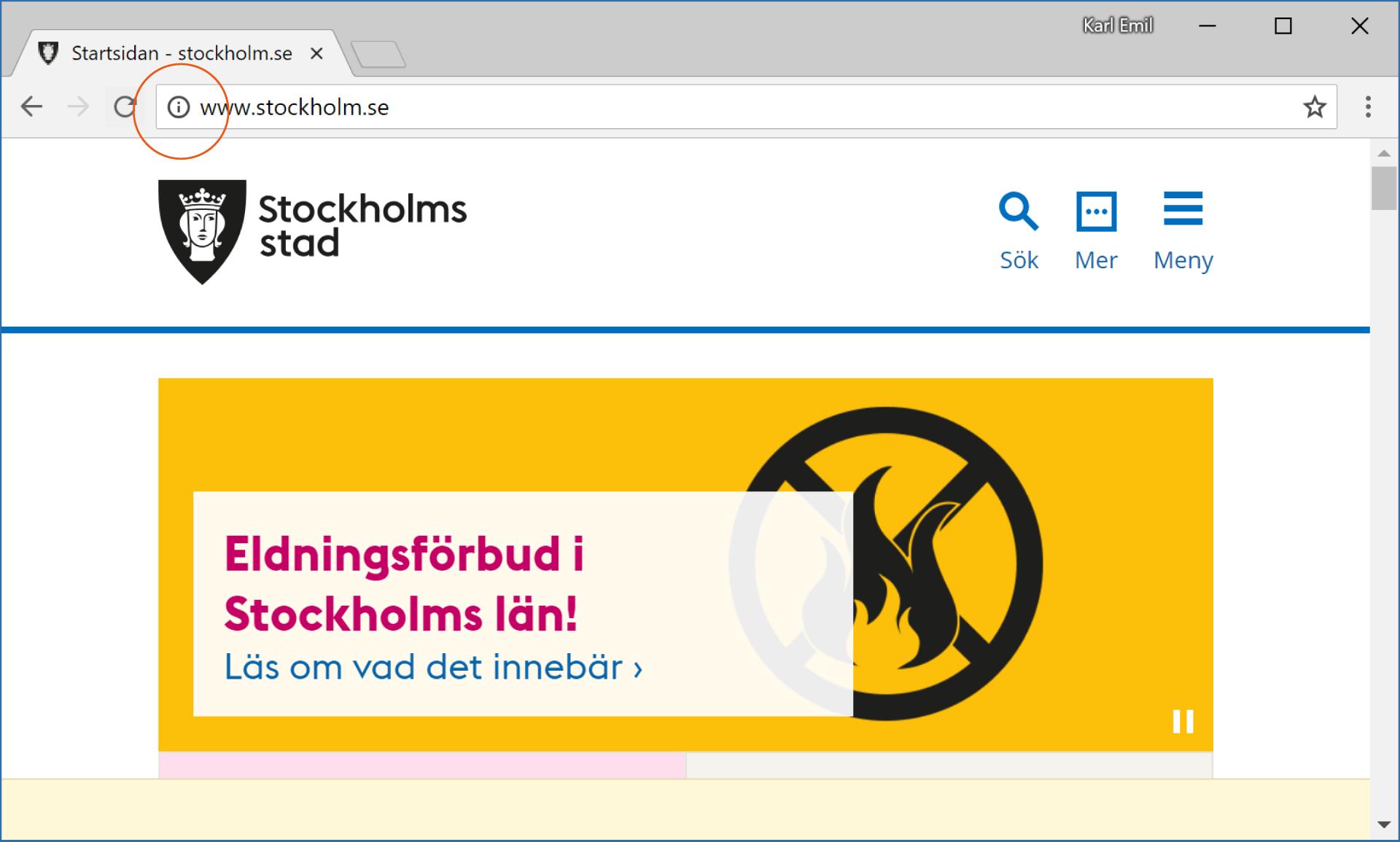 Stockholm stads webbplats fram till Google Chrome-uppdateringen