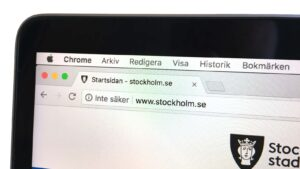 """Chrome skriver """"inte säker"""" på Stockholm stads webbplats."""