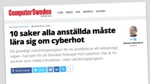 Artikel om IT-säkerhetsutbildning på Computer Sweden