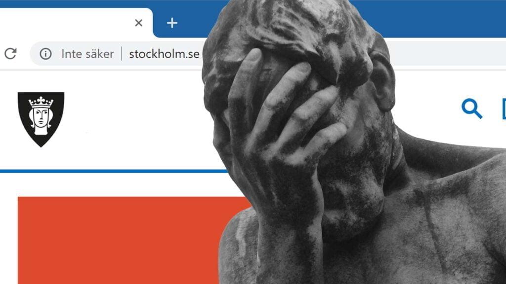 Facepalm-staty framför Stockholm Stads webbplats