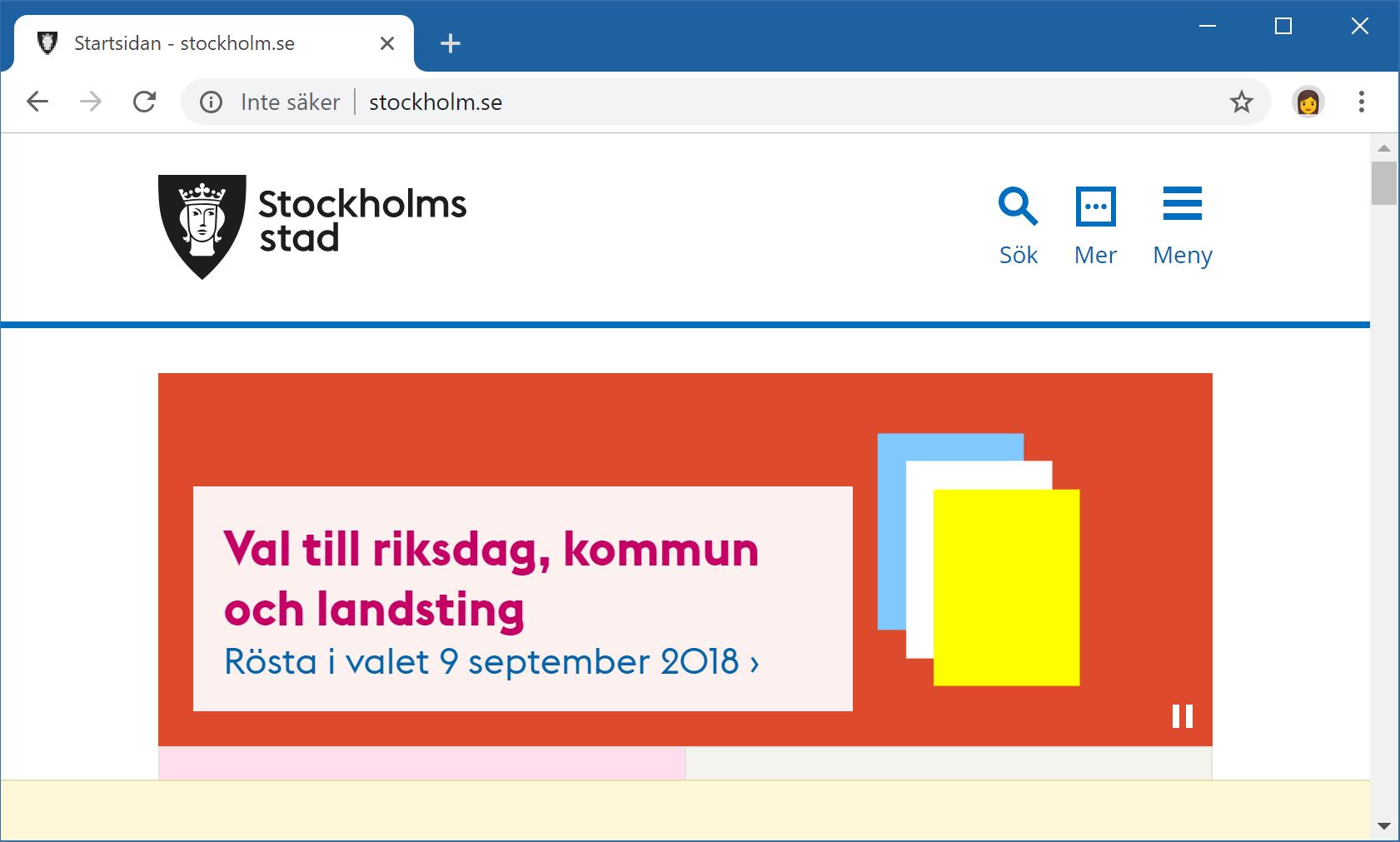Stockholm Stads webbplats saknar stöd för HTTPS.