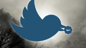 Dykande Twitter-fågel med verifieringsmärke
