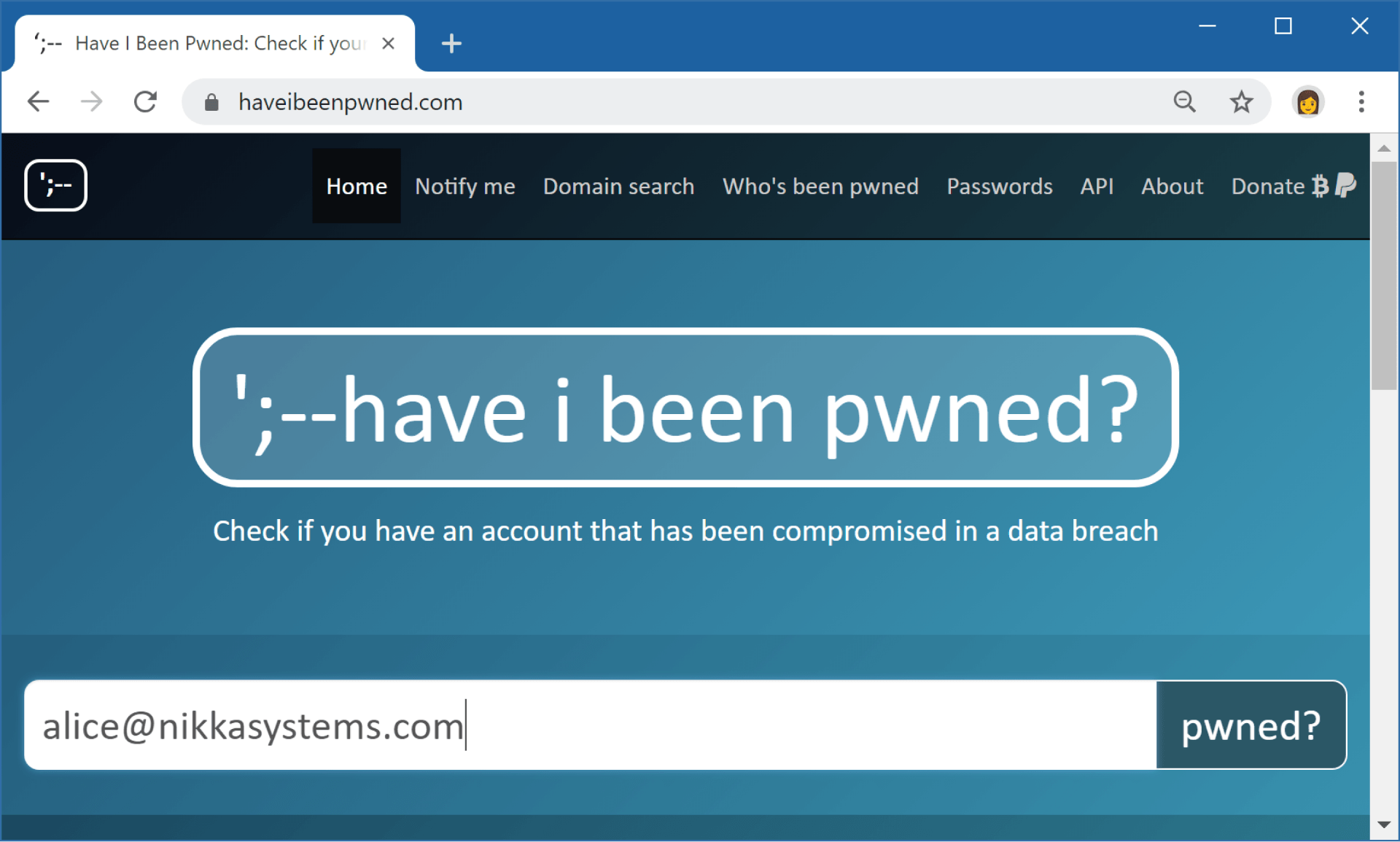 Webbtjänsten Have I Been Pwned
