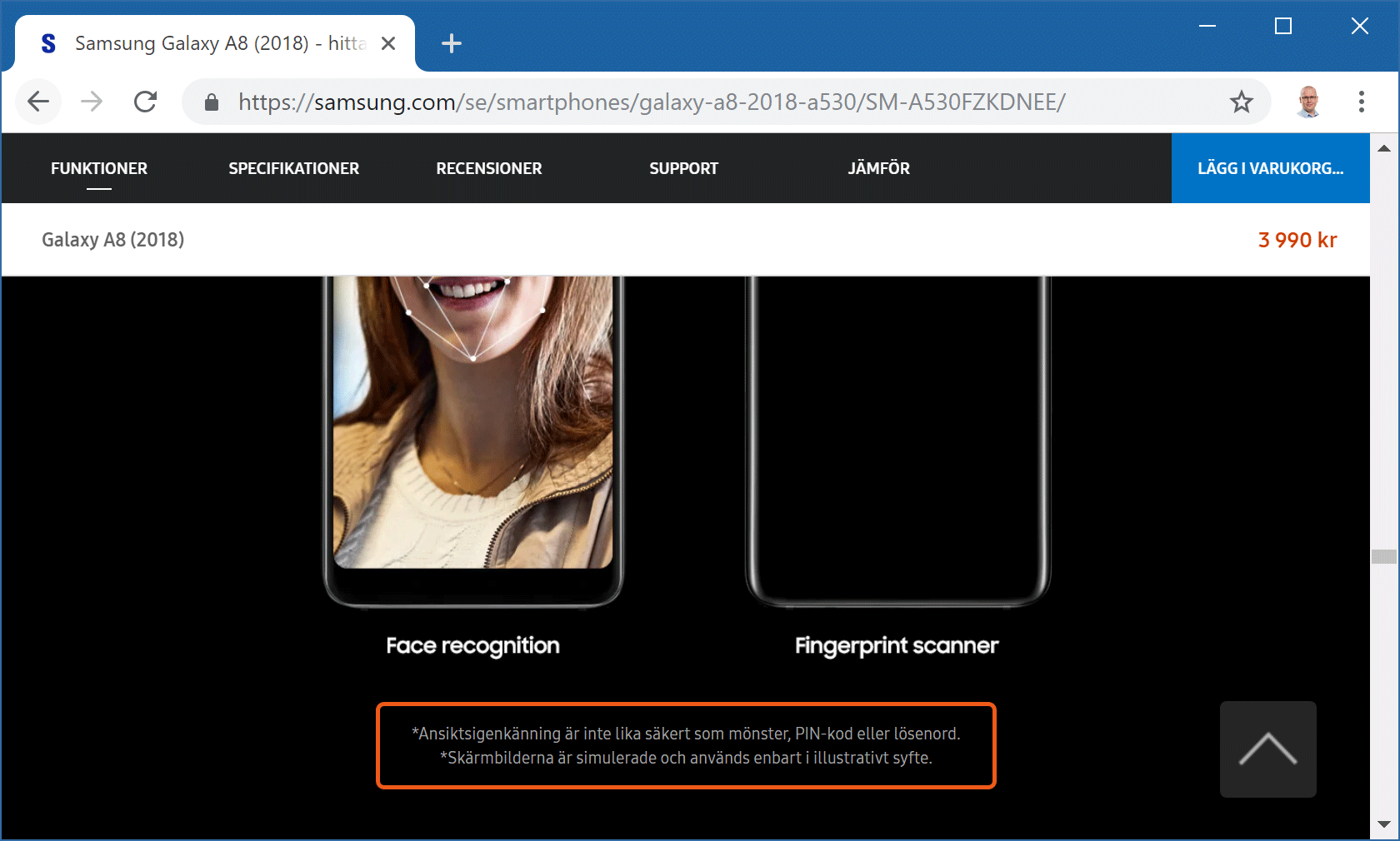 Samsung är öppna med att Galaxy A8 använder en mindre säker lösning (skärmdump från Samsungs webbplats).