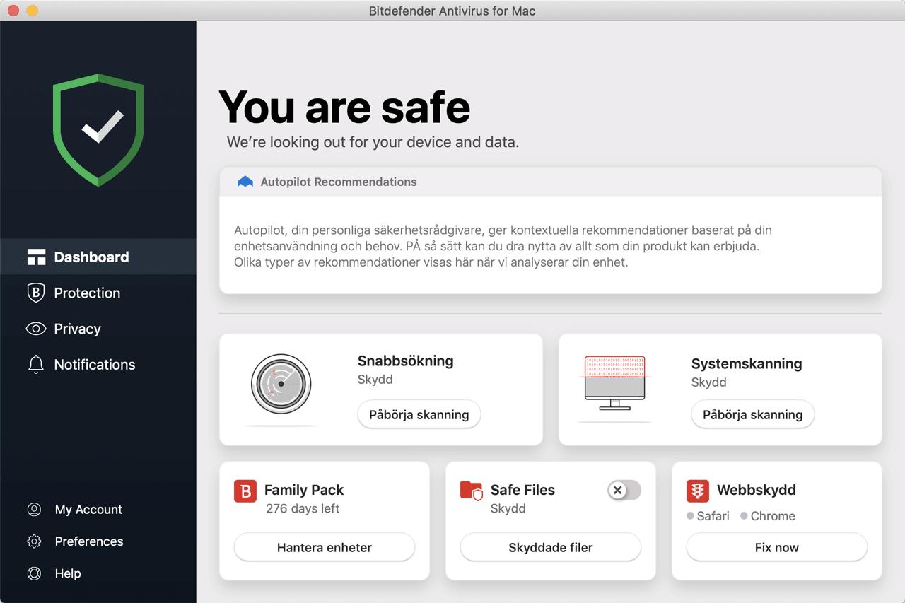 Bitdefender (Nikka Systems rekommenderade klientskydd för Mac OS).
