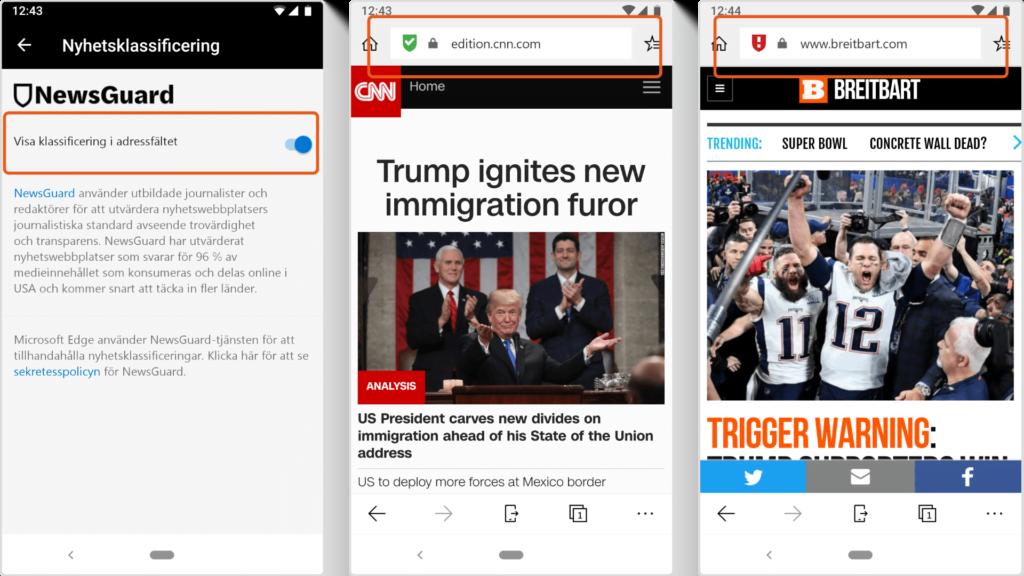 Newsguard i Microsoft Edge