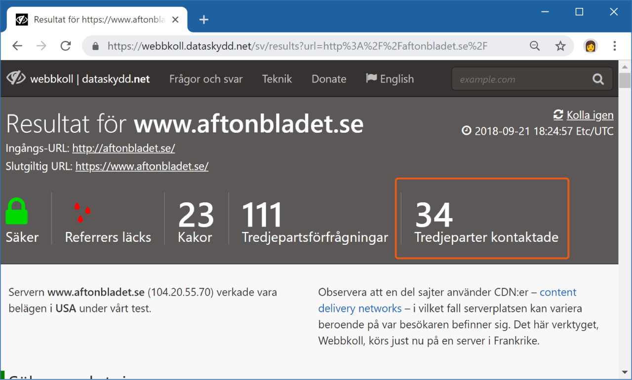 Webbkoll visar hur många tredjepartswebbplatser som levererar innehåll till Aftonbladets startsida.