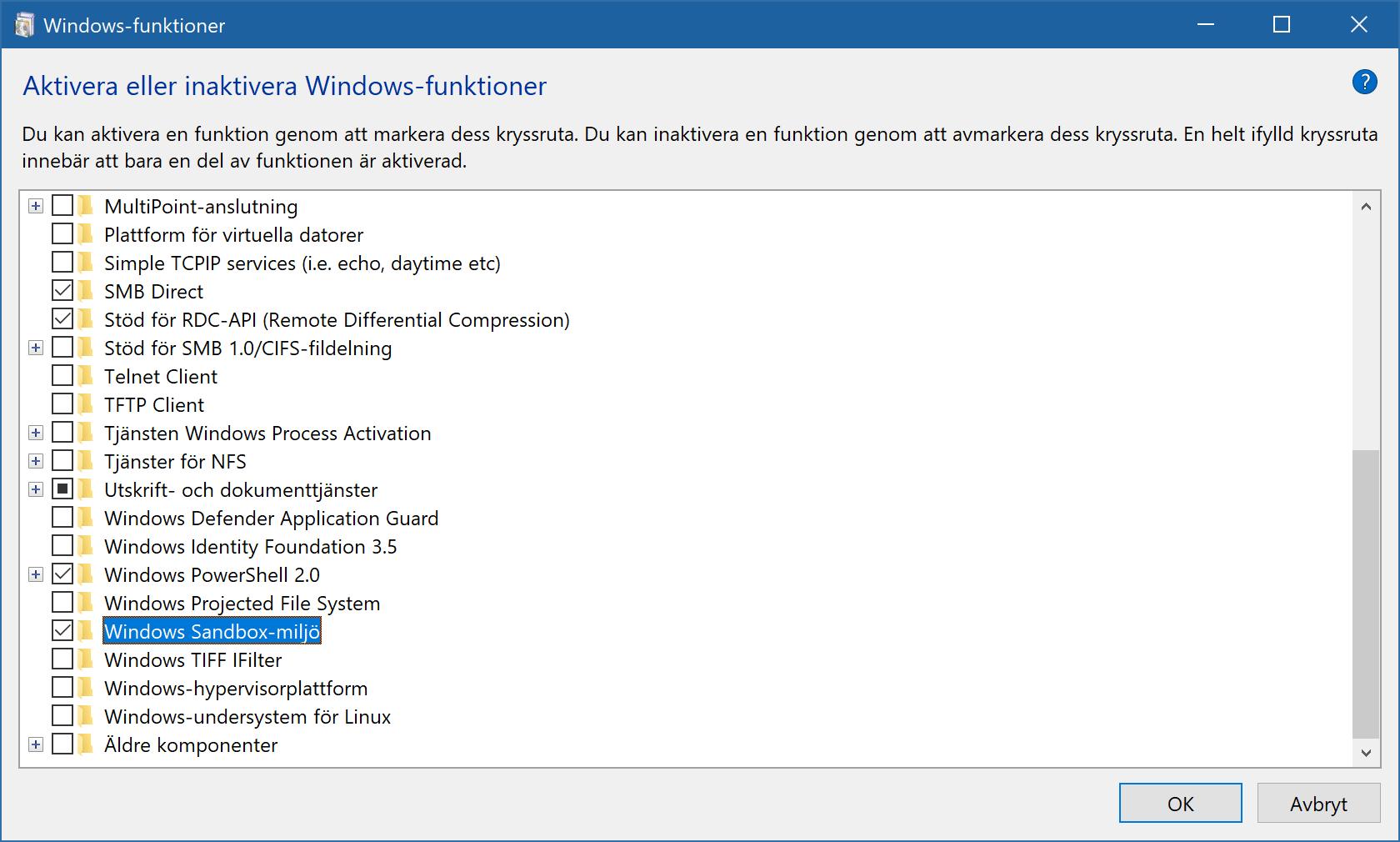 Dialogrutan för att lägga till Windows-funktioner