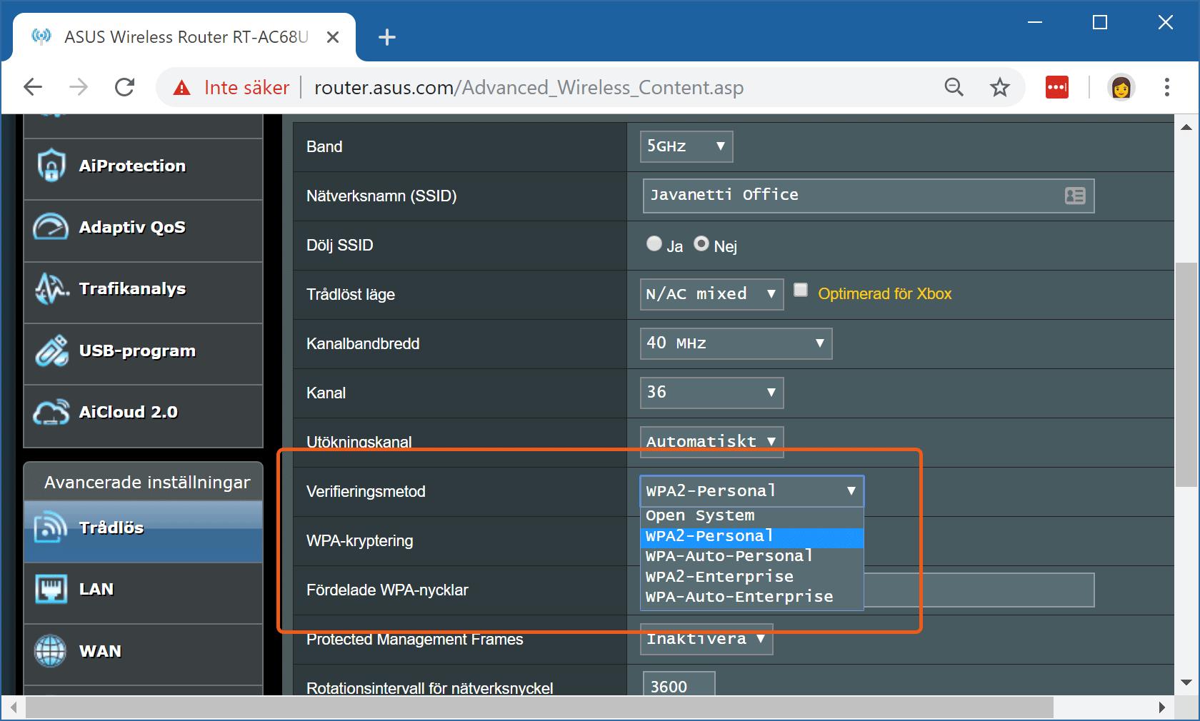 Byte till WPA2-standarden i Asus RT-AC68U.
