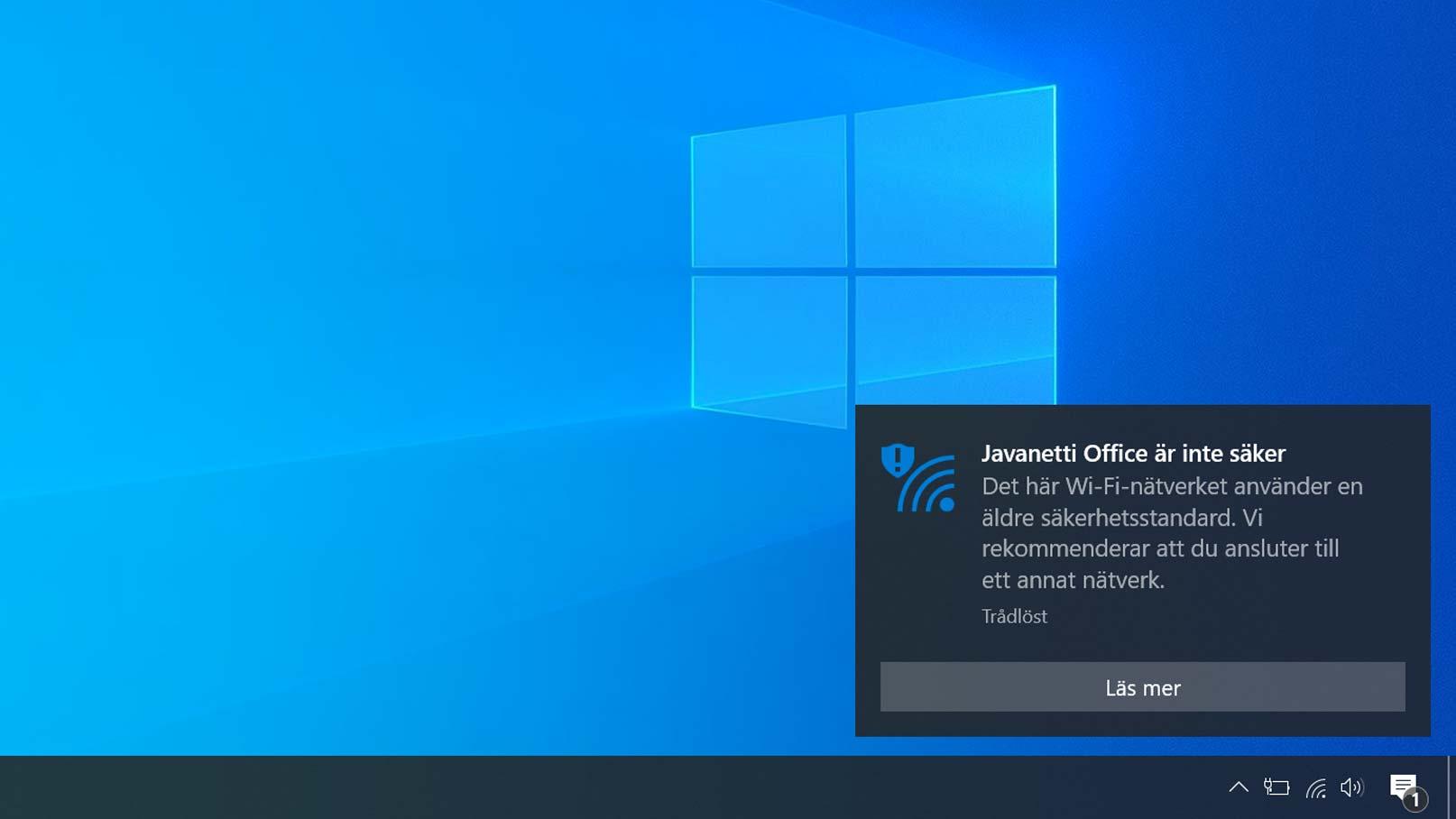 Dialogruta i Windows: Wifi-nätverket använder en äldre säkerhetsstandard. Vi rekommenderar att du ansluter till ett annat nätverk.