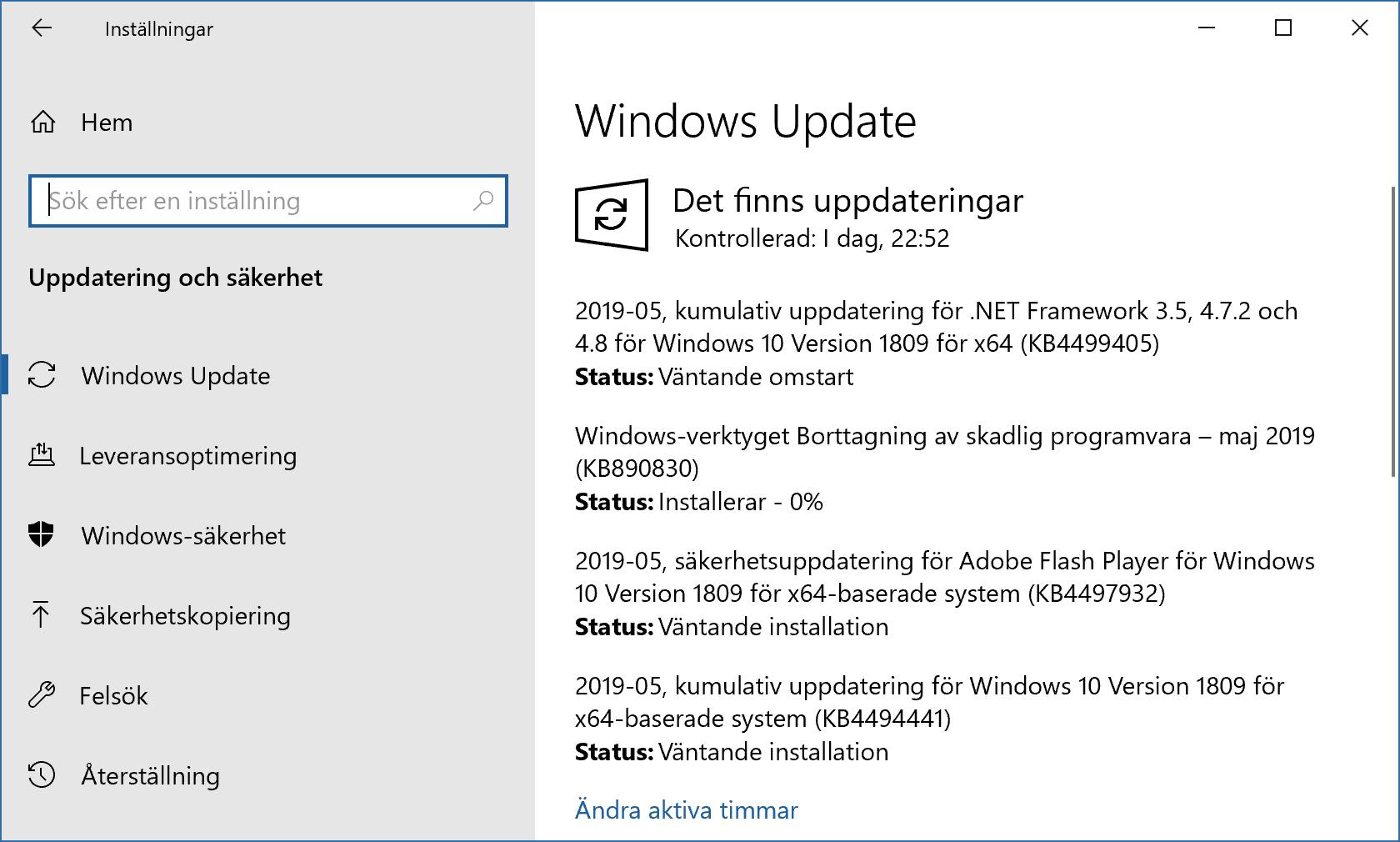 Windows Update installerar säkerhetsuppdateringar för maj 2019.