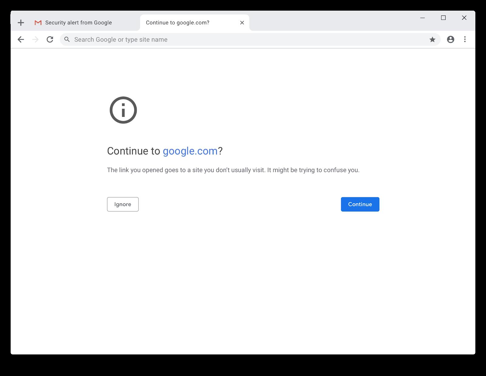 Google Chrome varnar för misstänkt nätfiskesida.