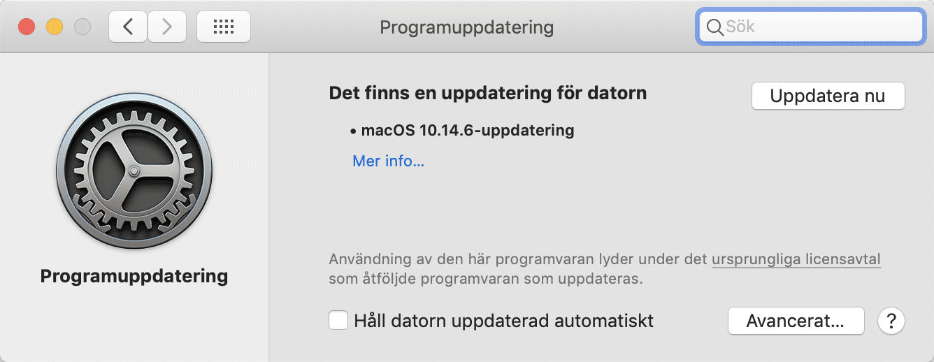 Programuppdatering i Mac OS