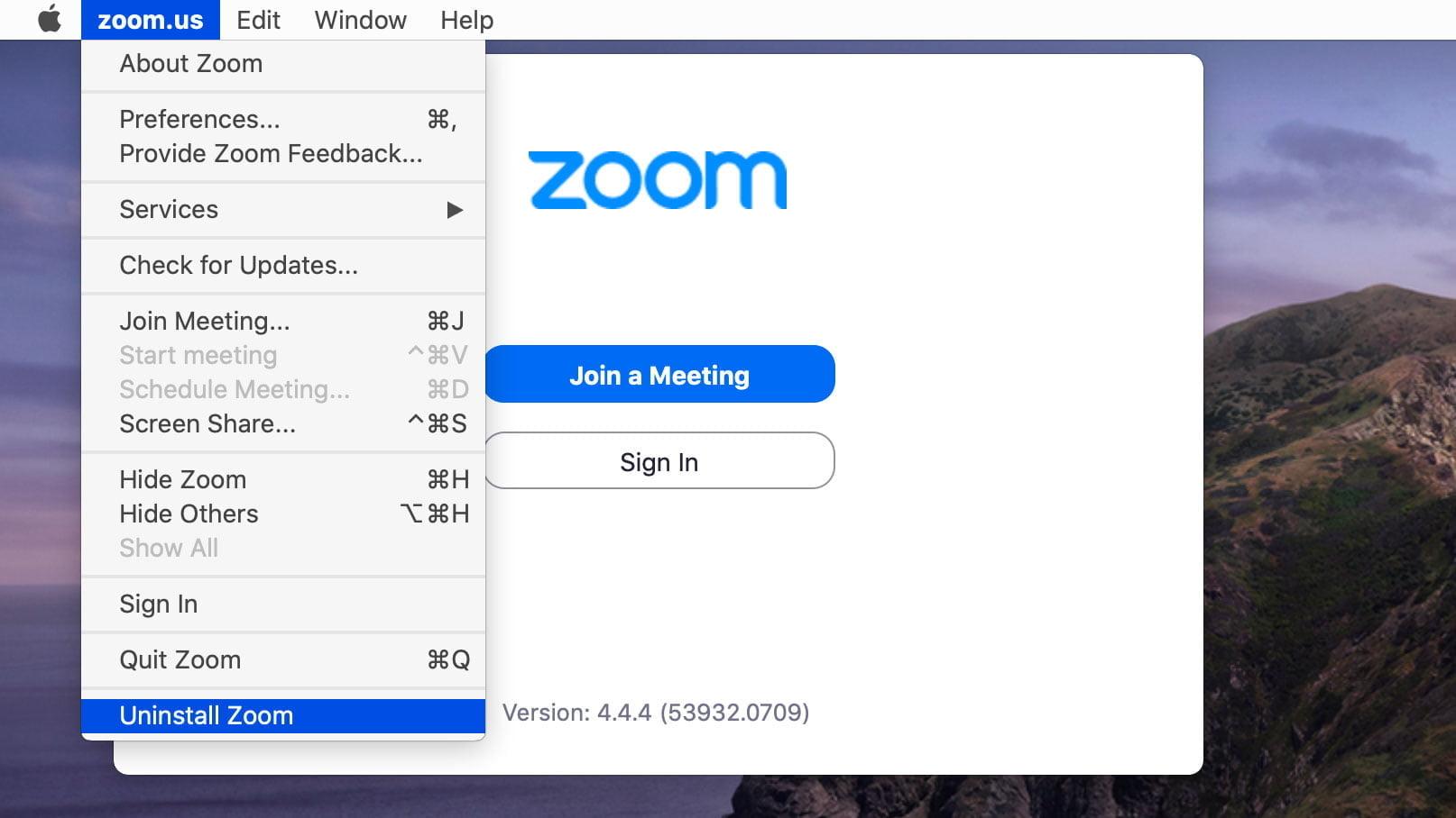 Alternativ för avinstallation i senaste versionen av Zooms Mac OS-app.