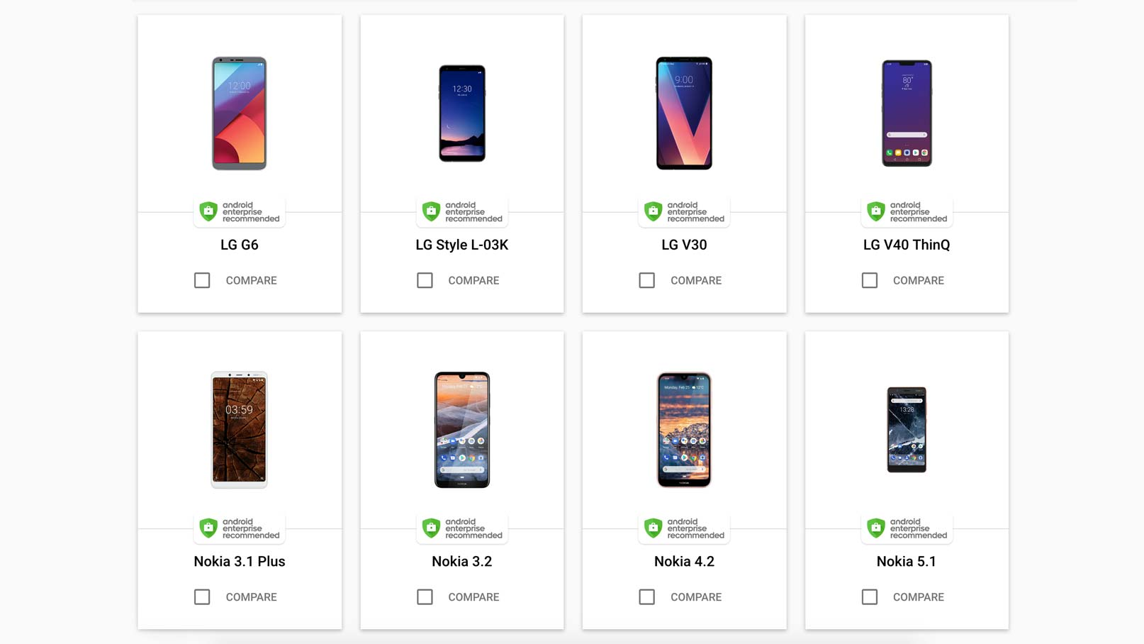 Utdrag ur Android Enterprise Recommended-listan
