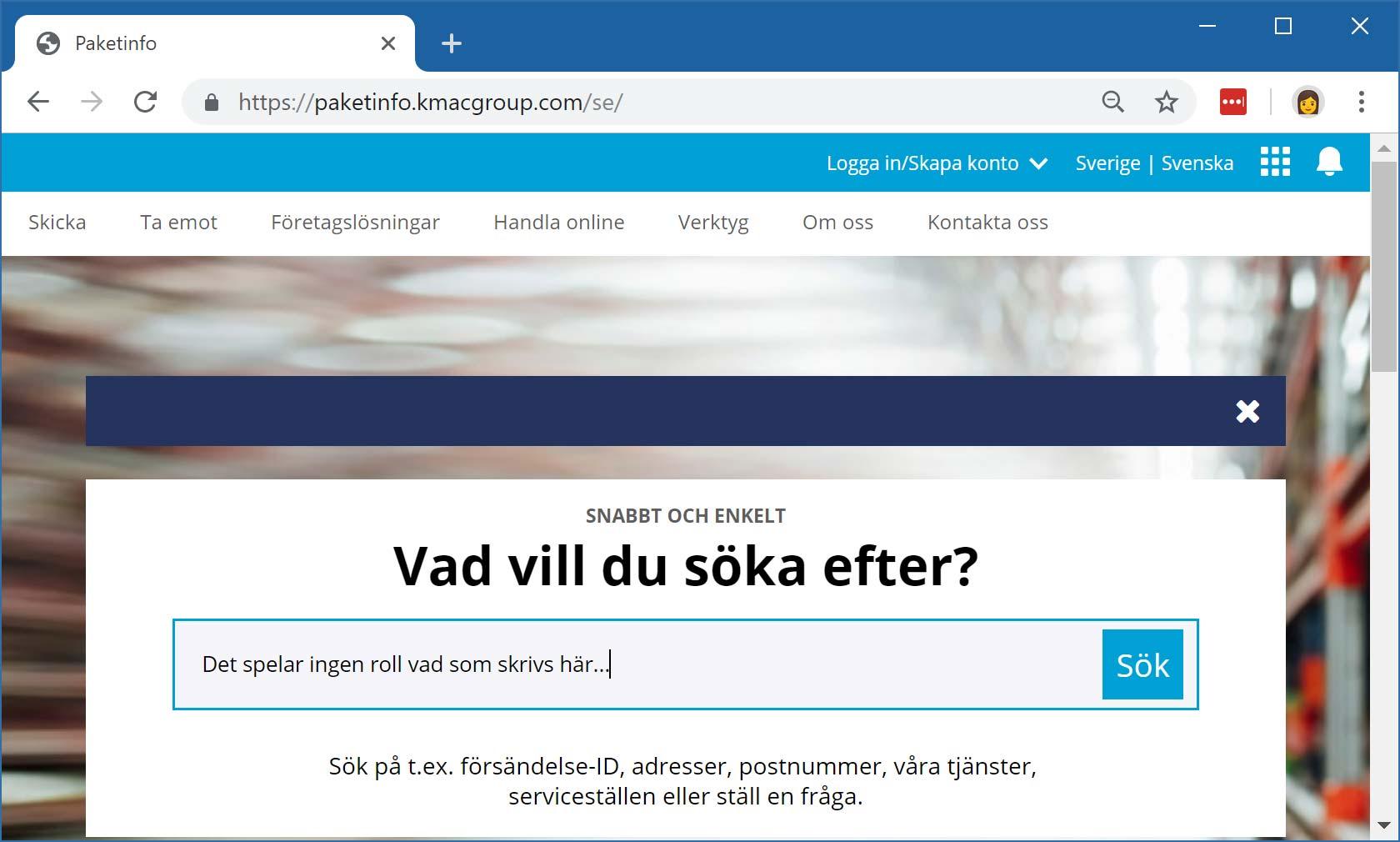 Den klonade versionen av Postnords webbplats