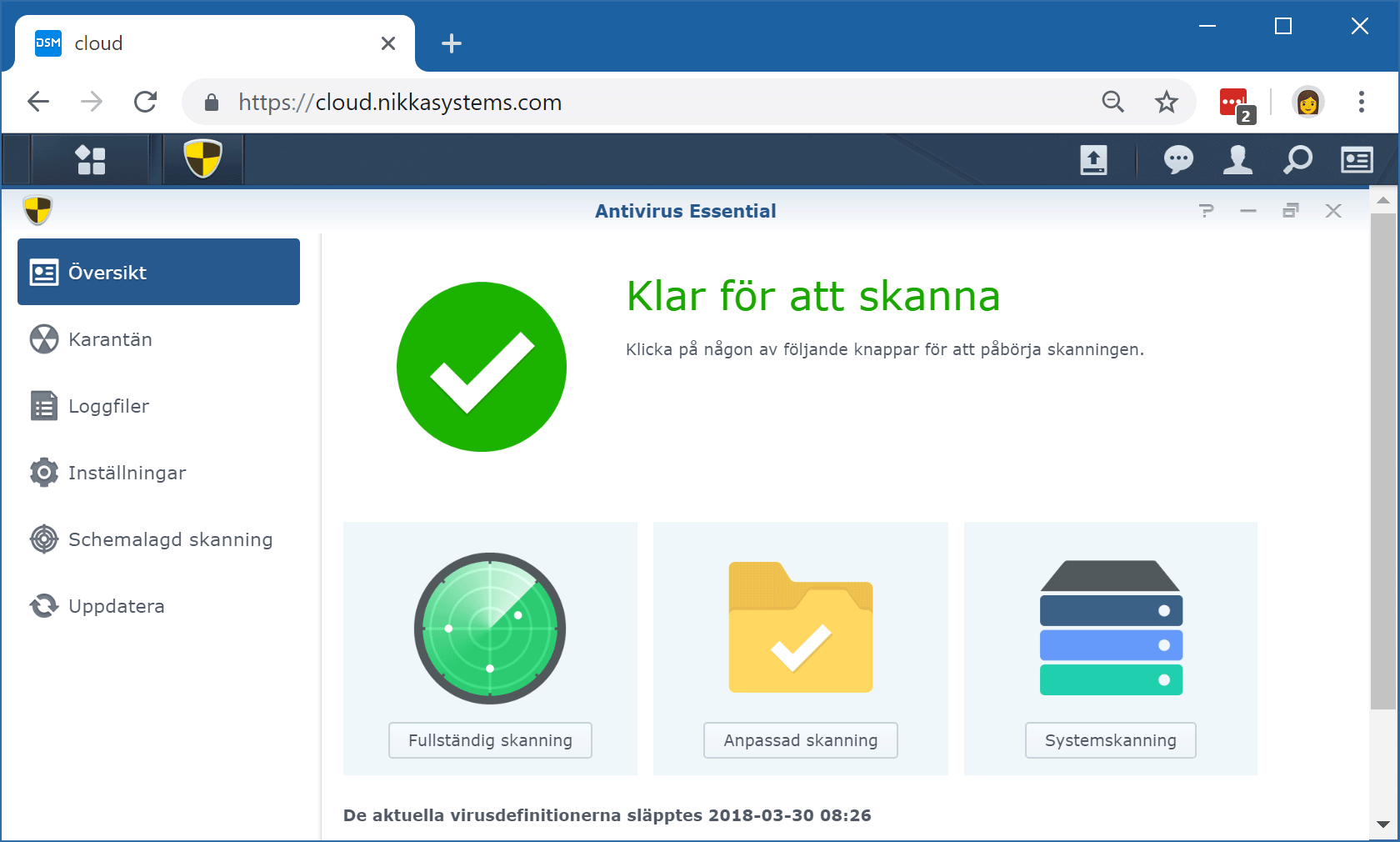 Tilläggspaketet Synology Antivirus Essential