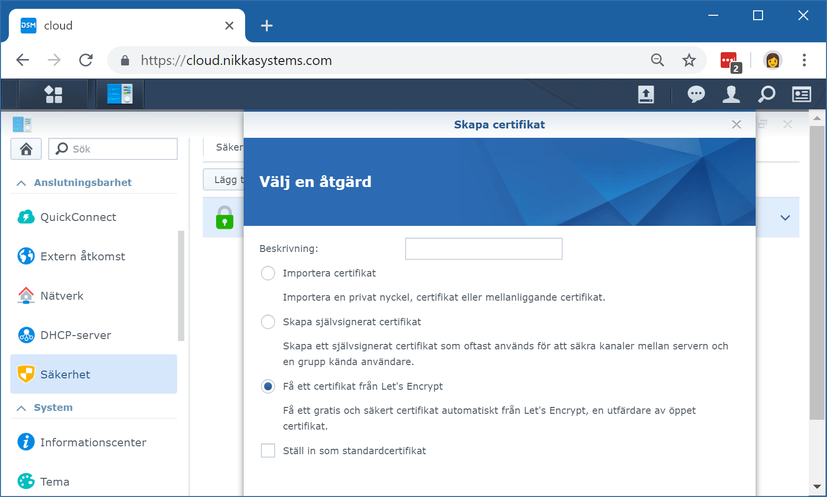 Synology DSM:s aktiveringsguide för Let's encrypt