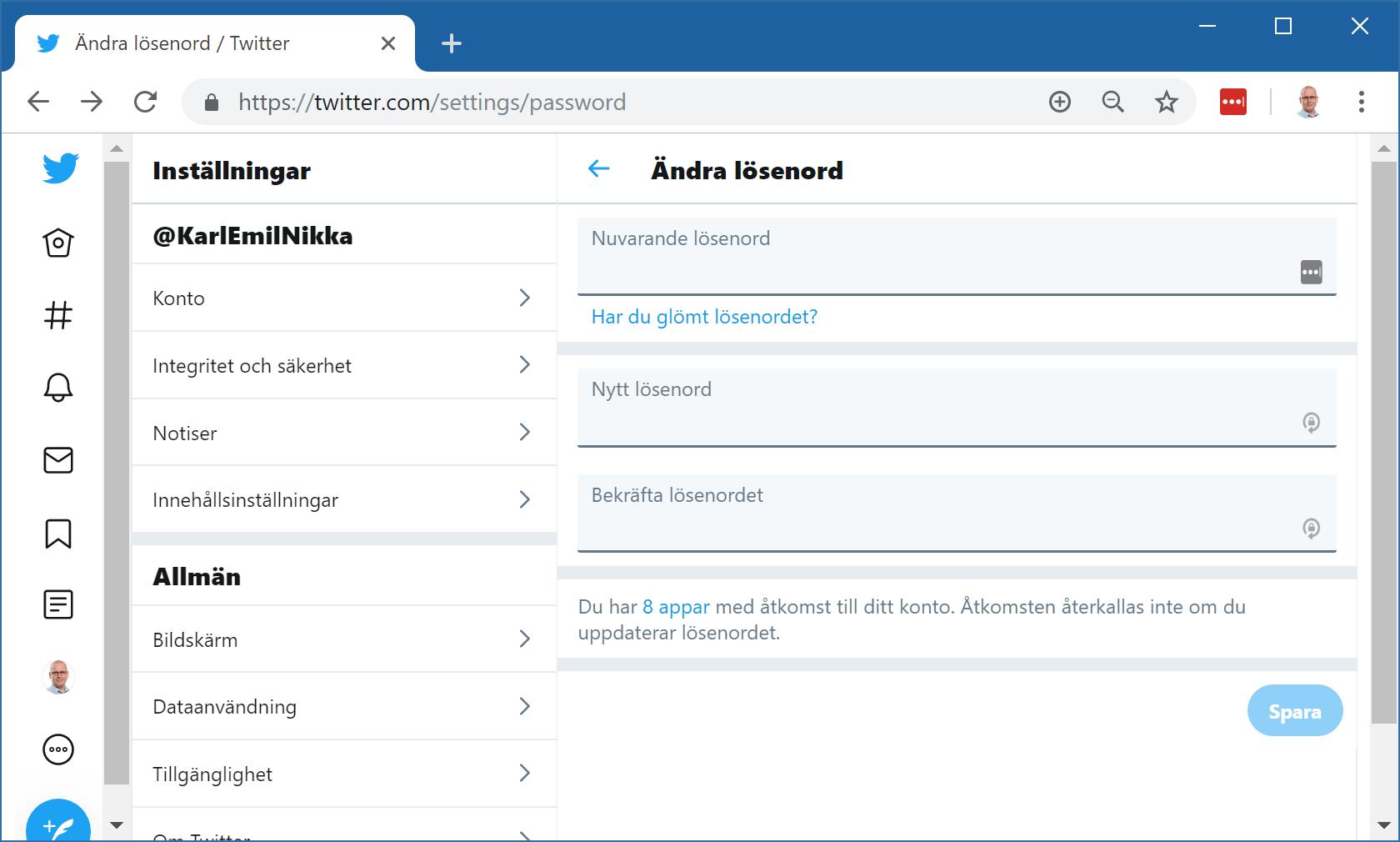 Twitters lösenordsinställningar