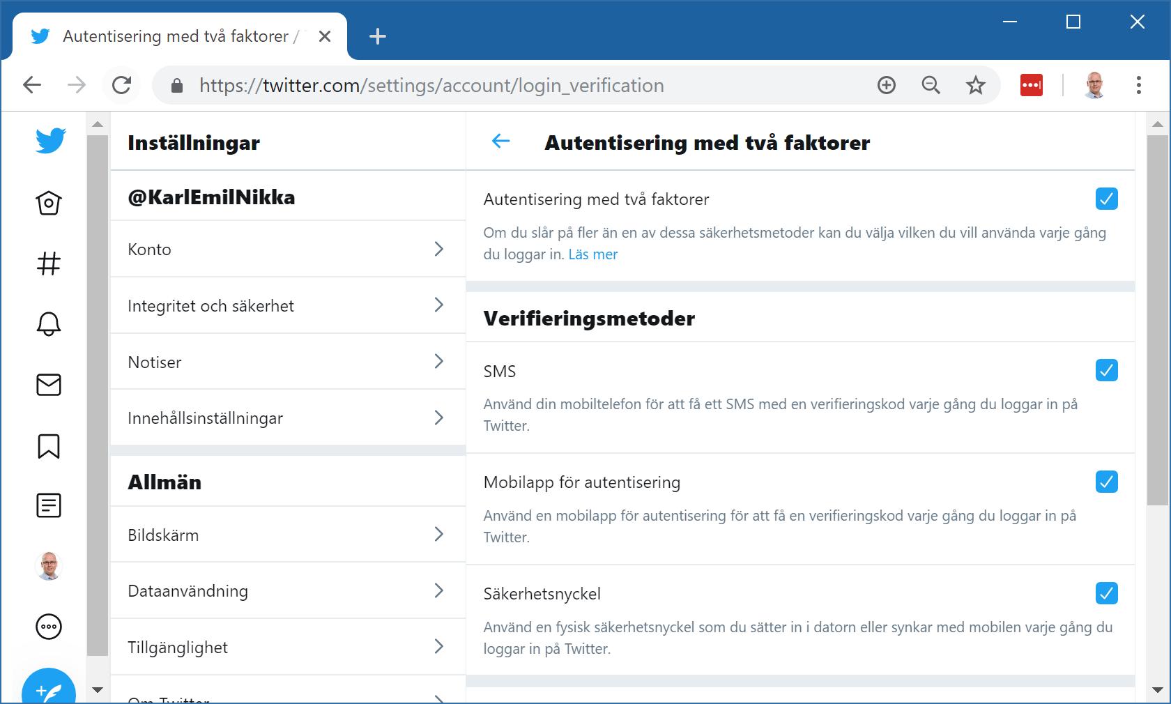 Twitter kontoinställningar för tvåstegsverifiering