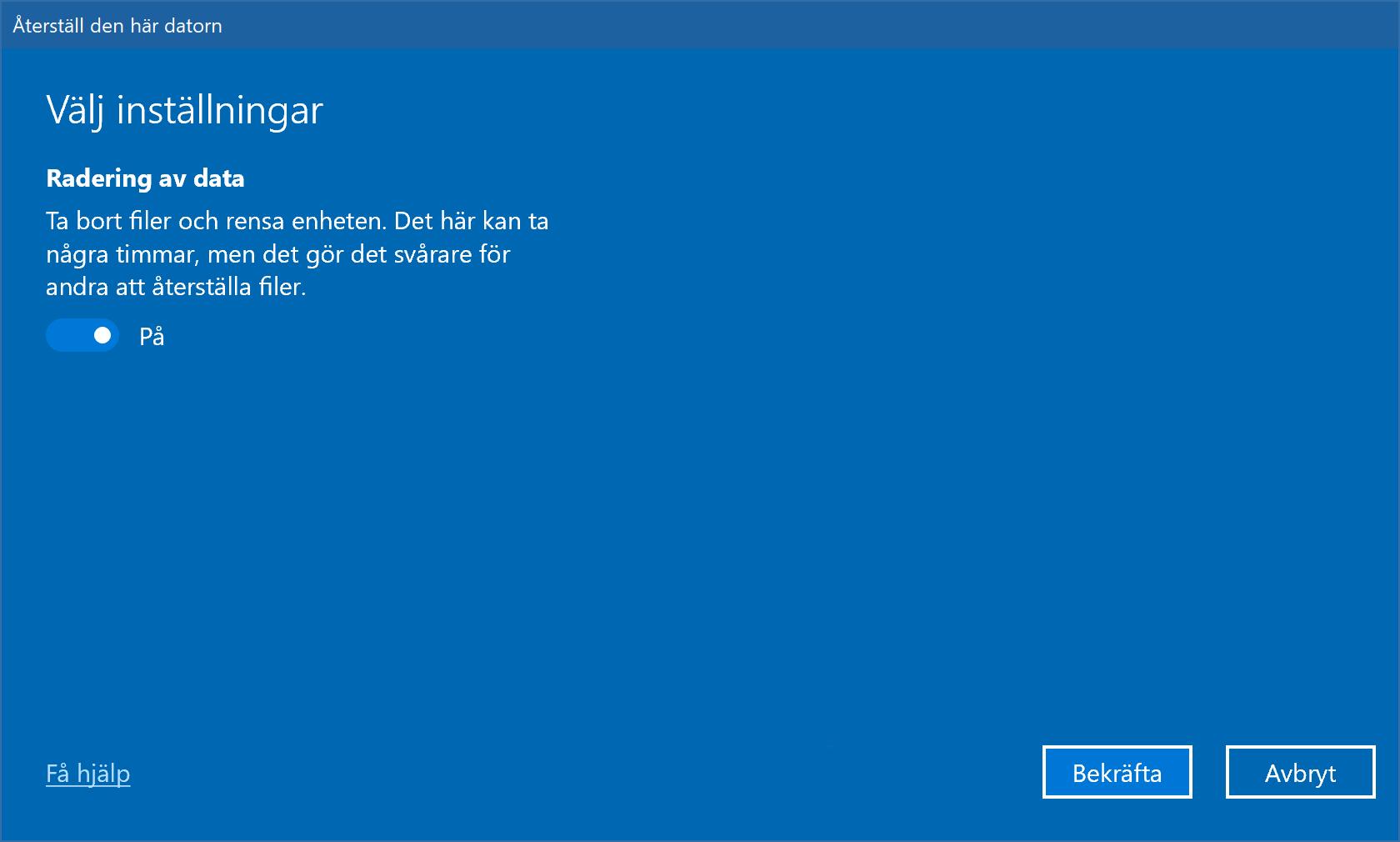 Windows-inställning för säker radering