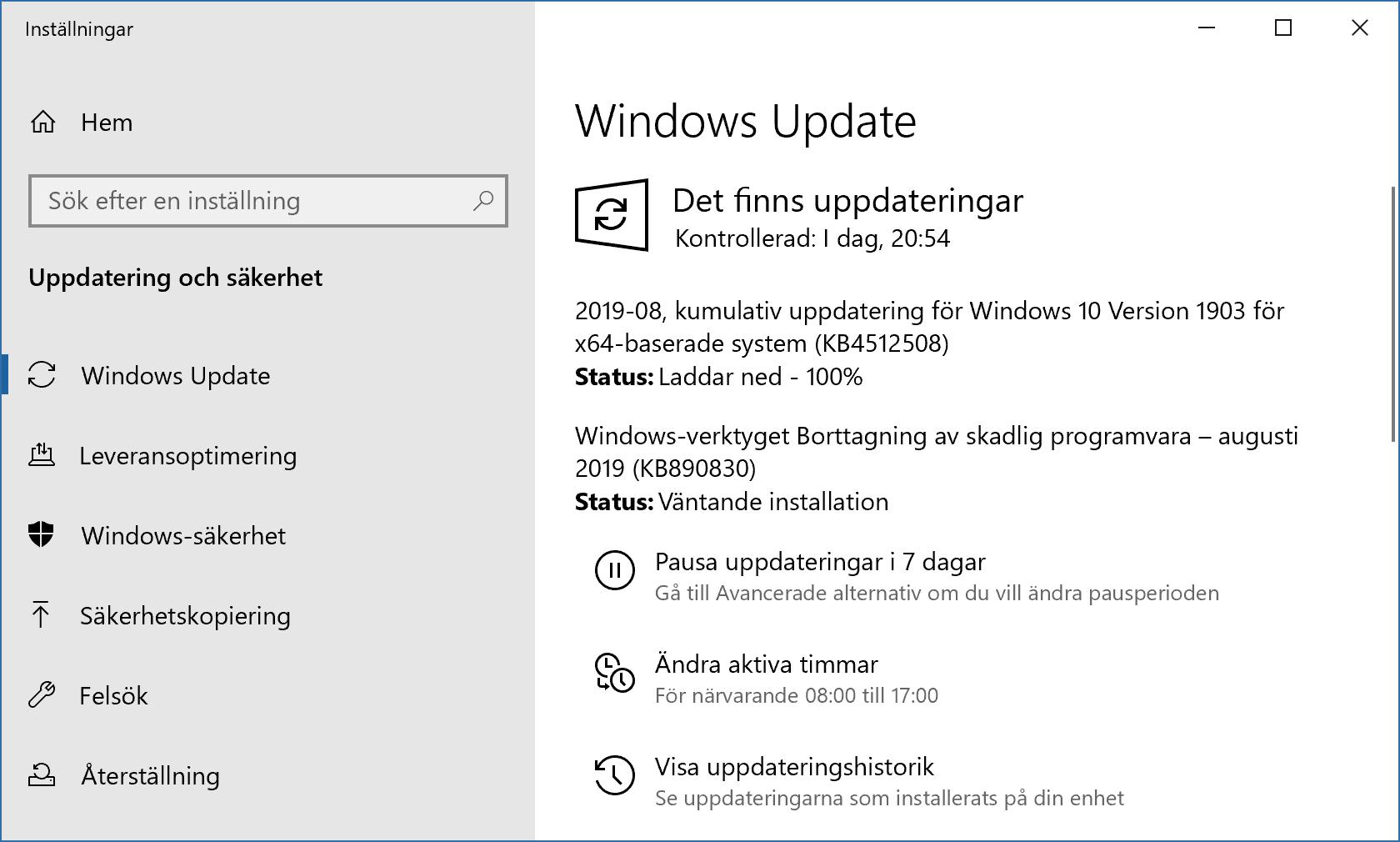 Augustis säkerhetsuppdateringar för Windows 10.