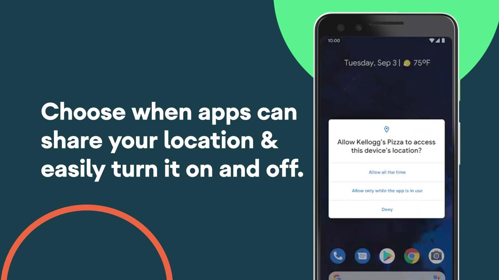 Presentationsbild om Androids platsinställningar.