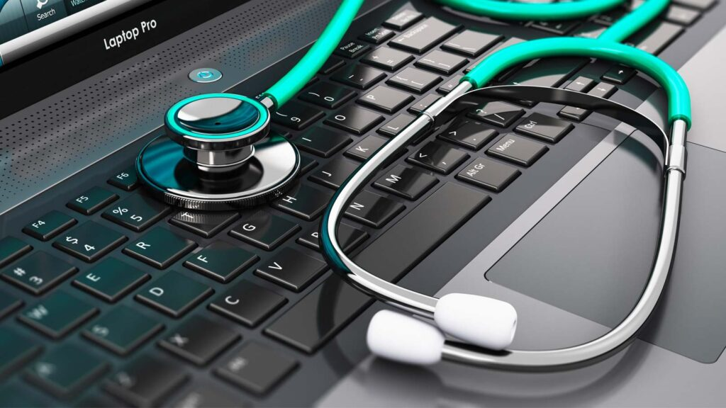 Laptop med stetoskop