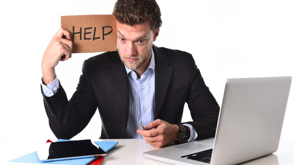 Uppgiven datoranvändare ber om hjälp