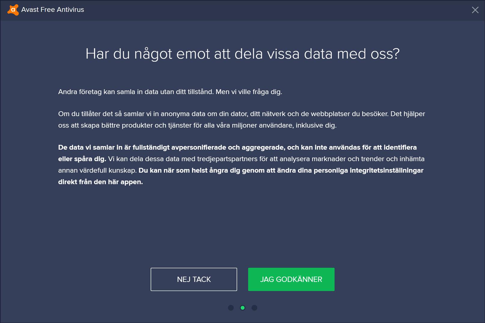 Datadelningsfråga i Avasts installationsprogram