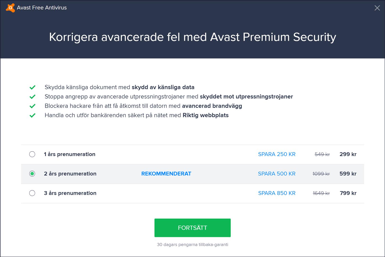 Avast-erbjudande för premiumprodukt