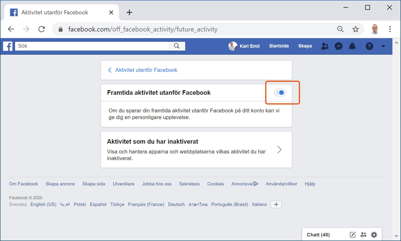 Facebooks inställning för att inaktivera kopplingen mellan insamlad data och din profil.