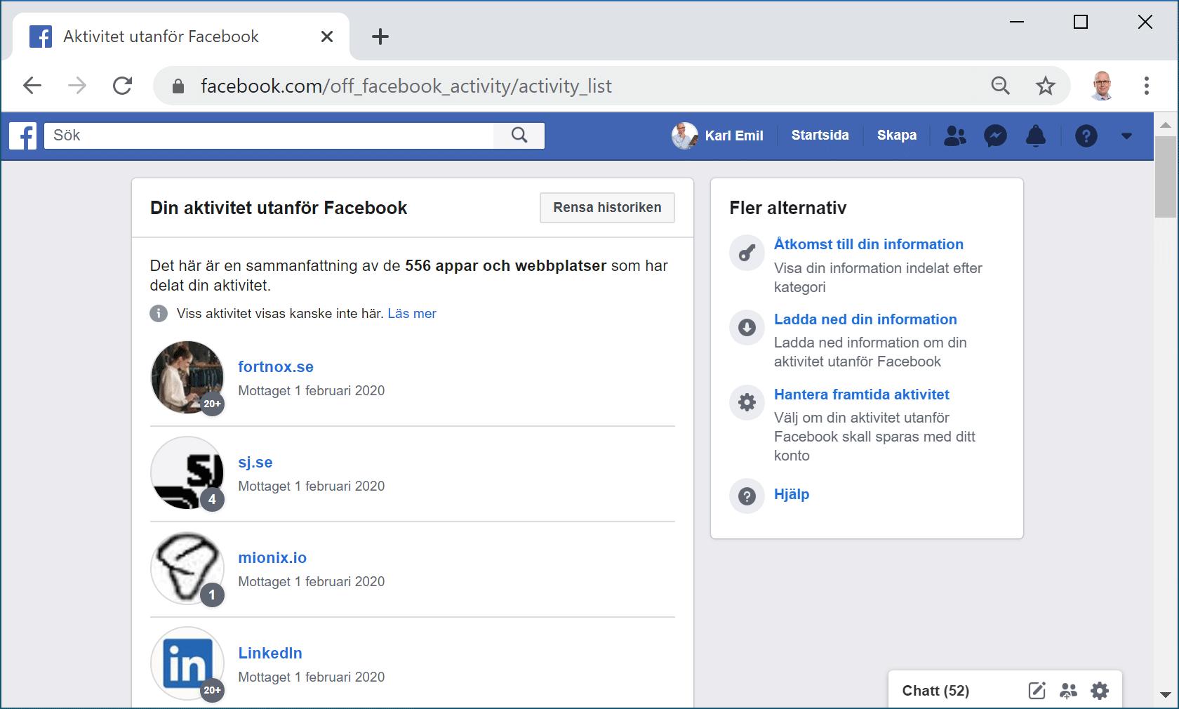 Facebooks aktivitetslog för aktivitet utanför Facebook