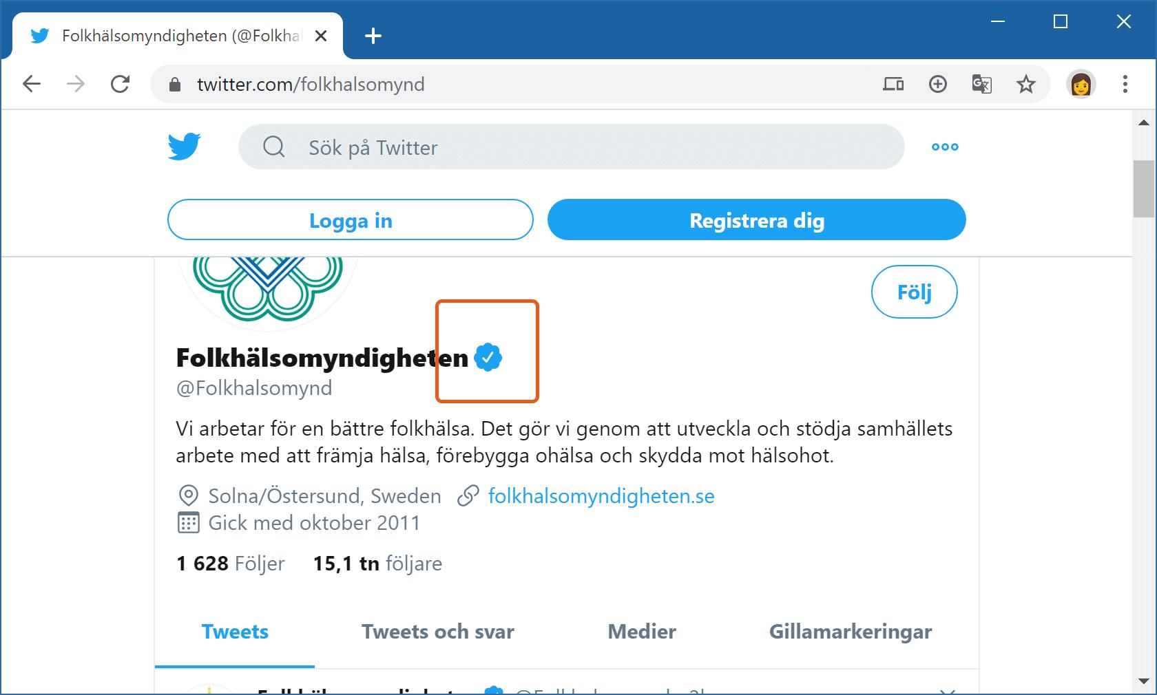 Folkhälsomyndigheten på Twitter