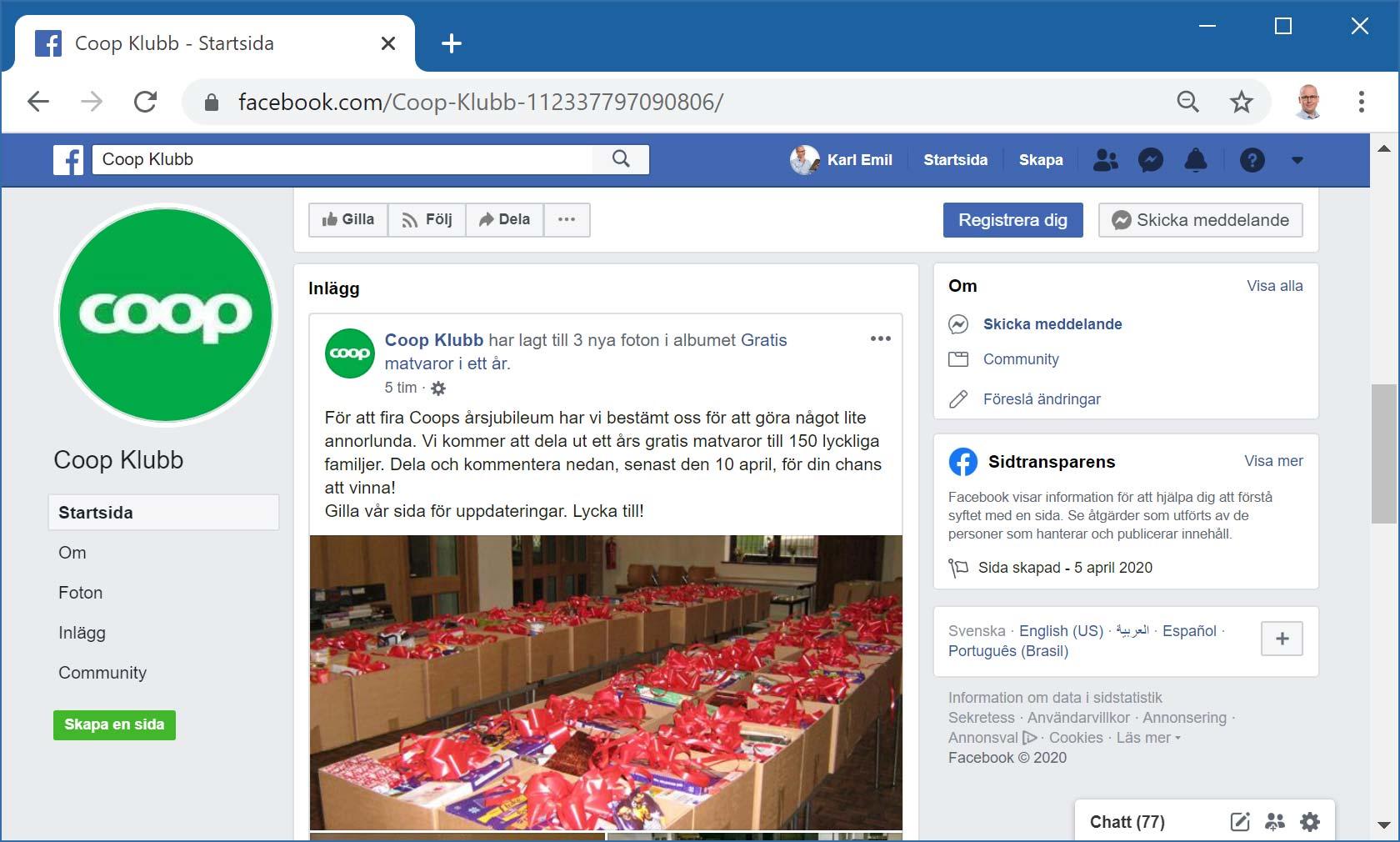 Falsk Facebook-sida för Coop Klubb