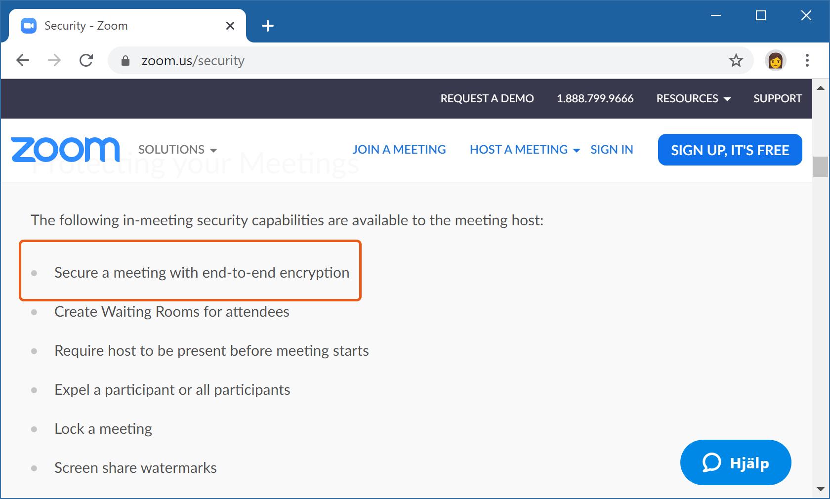 Zooms webbsida om säkerheten